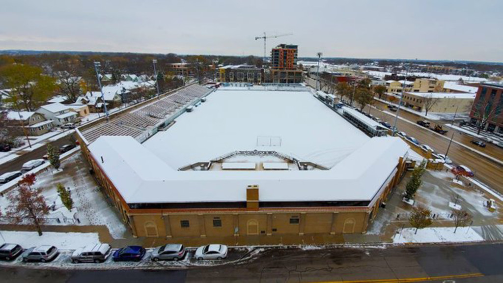 Snowfall covers Wisconsin sports stadiums