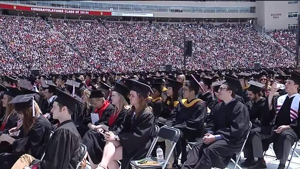 UW graduation returns to Camp Randall, graduates 'Jump Around'