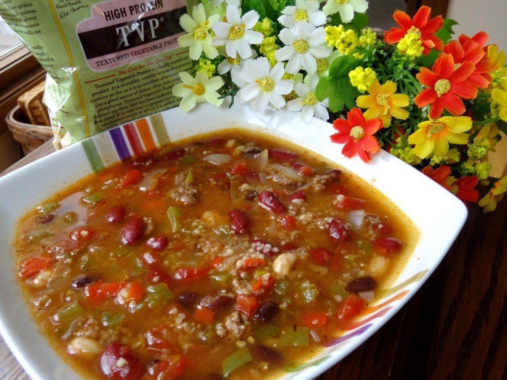 Donna's chili with beans and TVP or bulgur