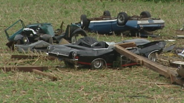 Severe weather destroys 6 classic cars in Verona