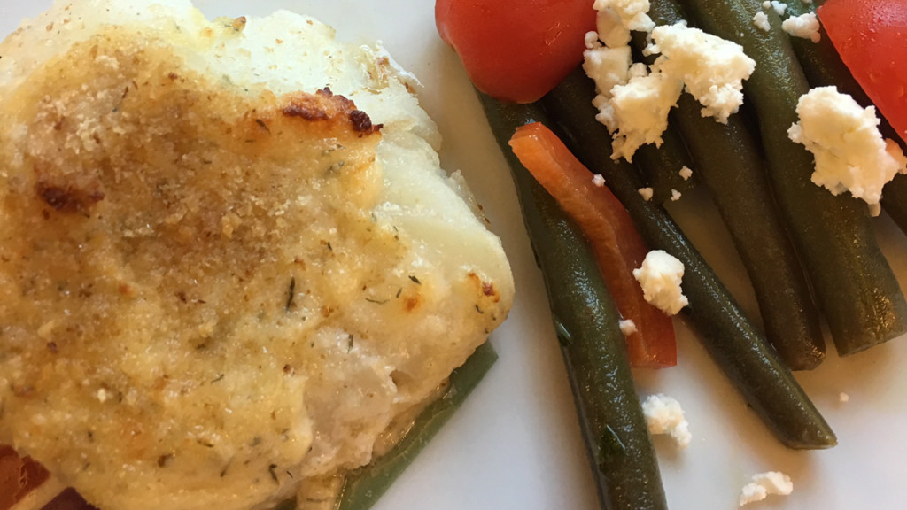 Donna's cod with parmesan dill topping