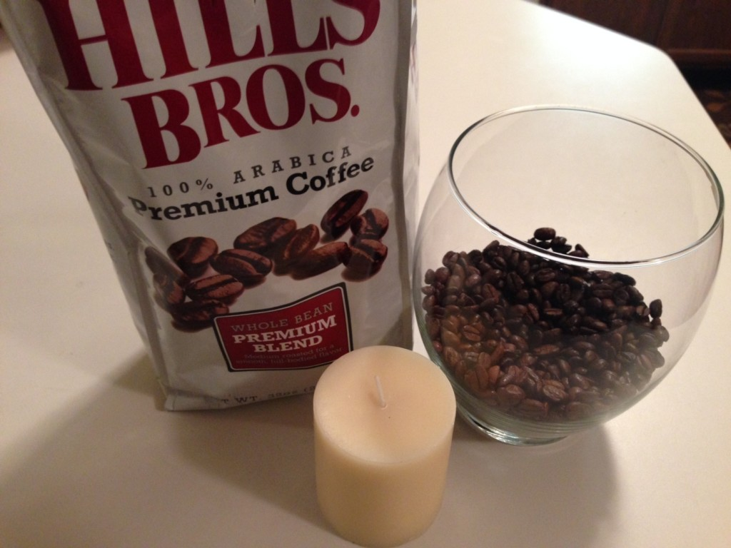 Coffee beans, candle create coffee shop scent at home