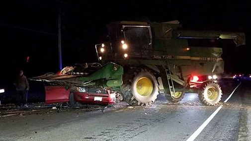 Three deaths confirmed in farming combine and SUV collision
