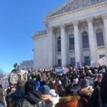 Hundreds of students rally in freezing temperatures to defend DACA