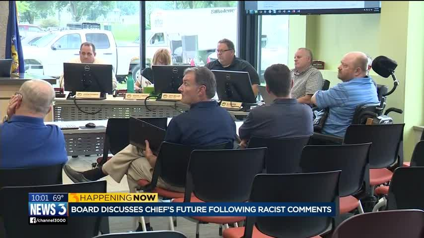 Village board discusses police chief's racist comments