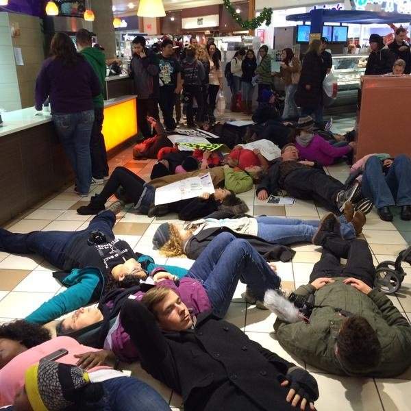 Protestors interrupt holiday shopping to demand racial equality