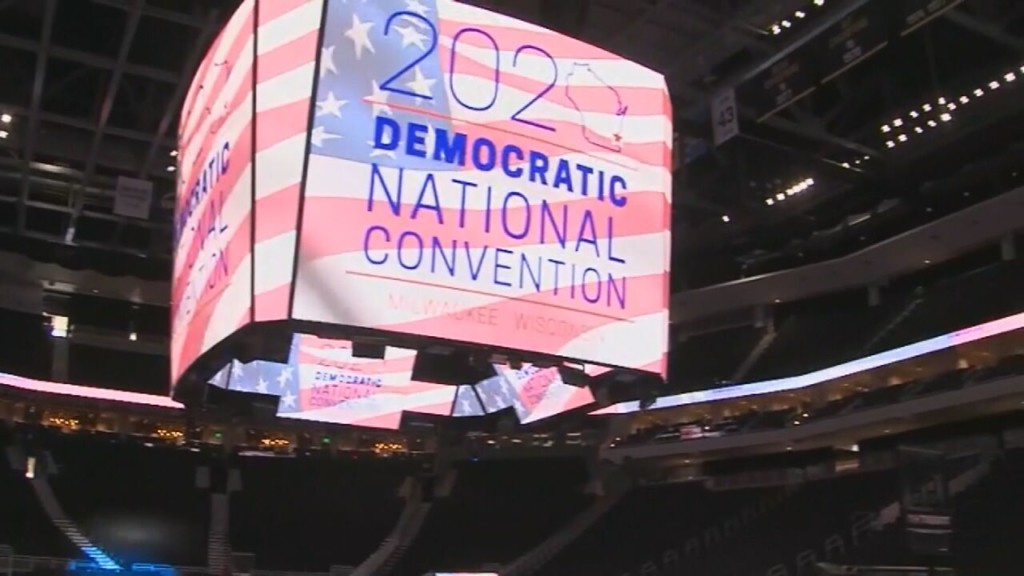 A generic photo of the 2020 Democratic National Convention logo
