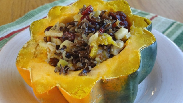 Donna's Acorn Squash With Wild Rice, Apples, Oranges And Walnuts
