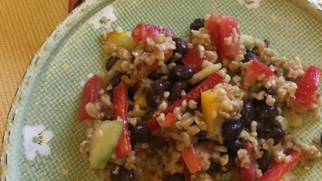 Donna's freekeh, pepper and tomato salad