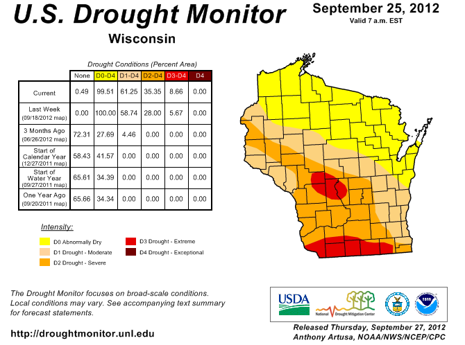 Drought area remains in central, southern Wisconsin