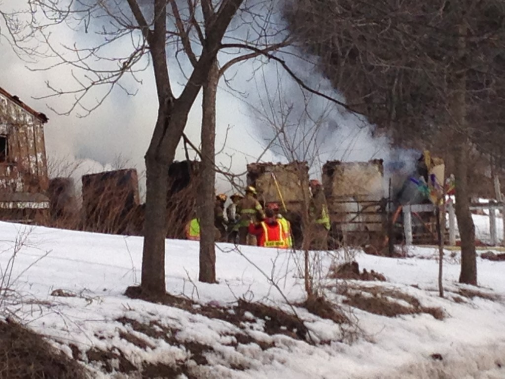 Barn destroyed, other building damaged by fire