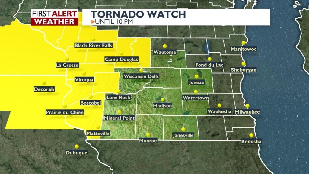 Tornado Watch issued in 6 Wisconsin counties Thursday evening