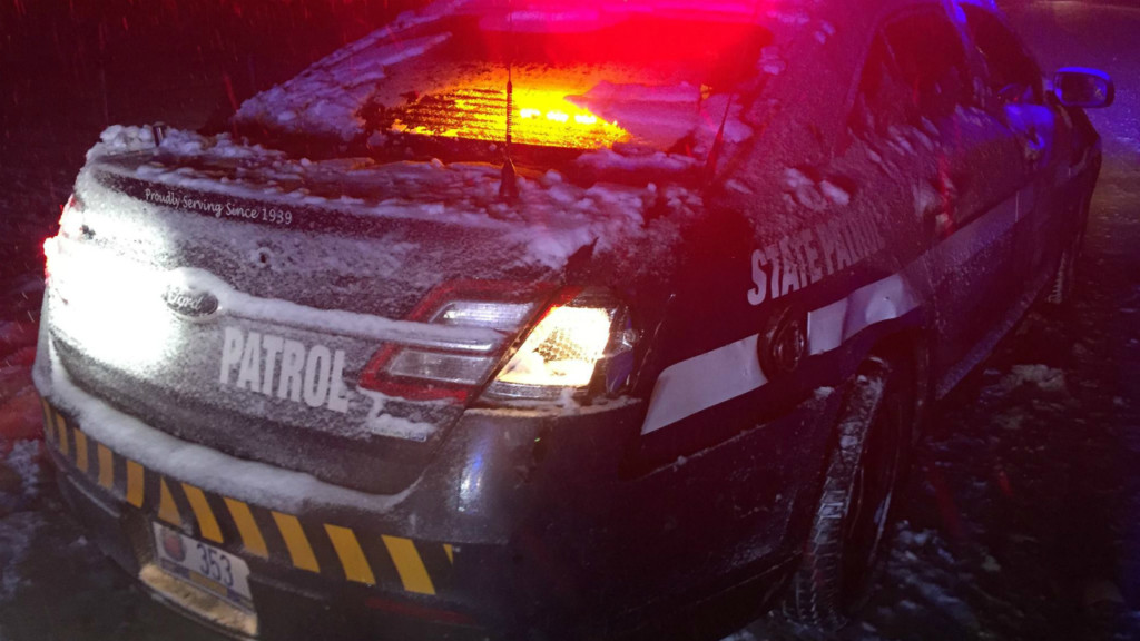 State patrol squad car hit, damaged during snowstorm