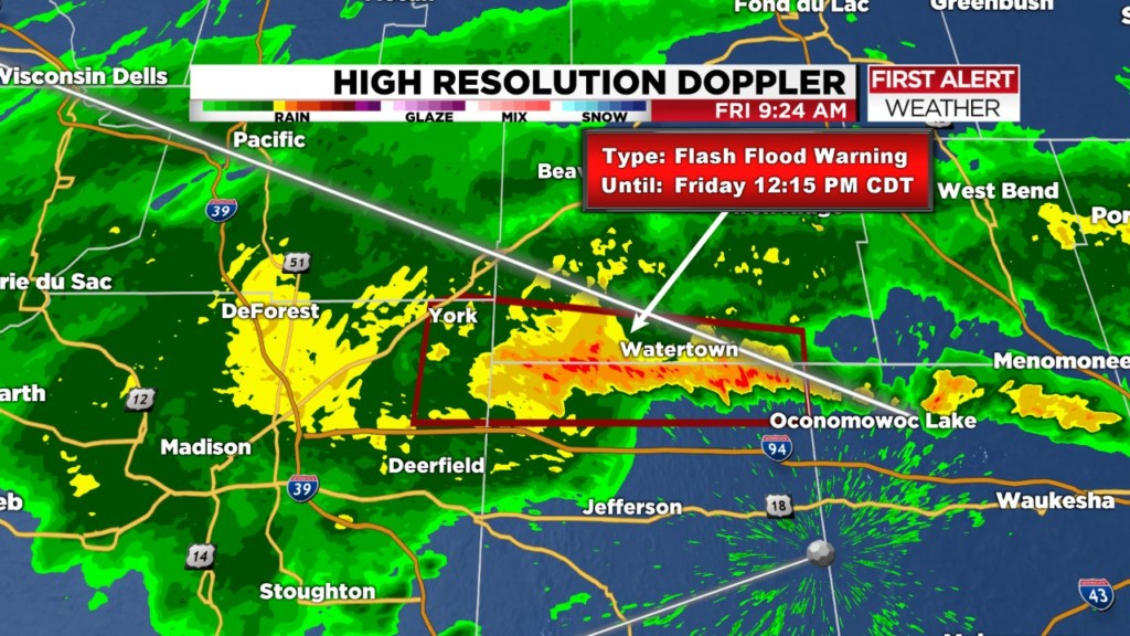 Flash flood warning issued for Dane, Dodge, Jefferson counties