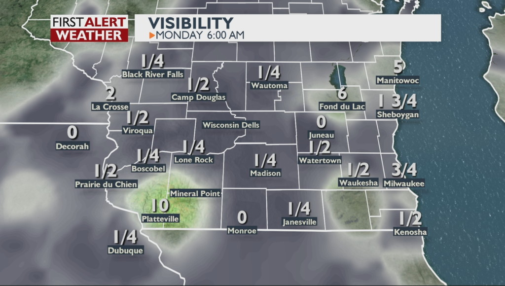 Dense fog to affect Monday morning commute