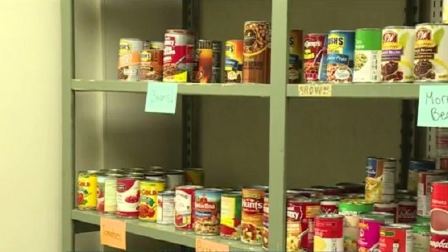 food on shelves at a food pantry
