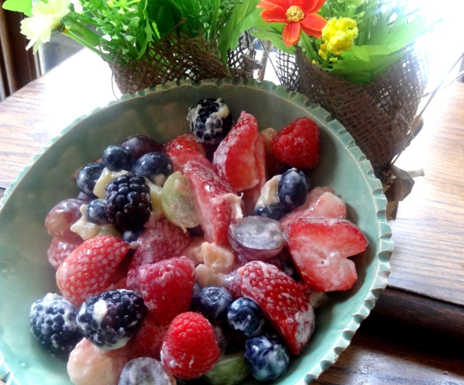 Donna's fresh fruit with peach yogurt dressing