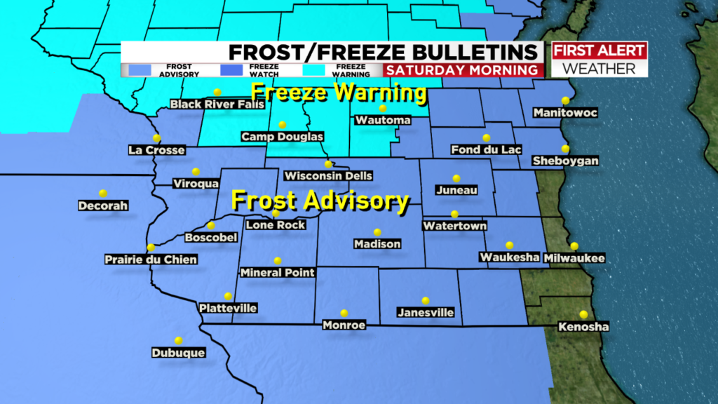 Widespread frost possible Saturday morning