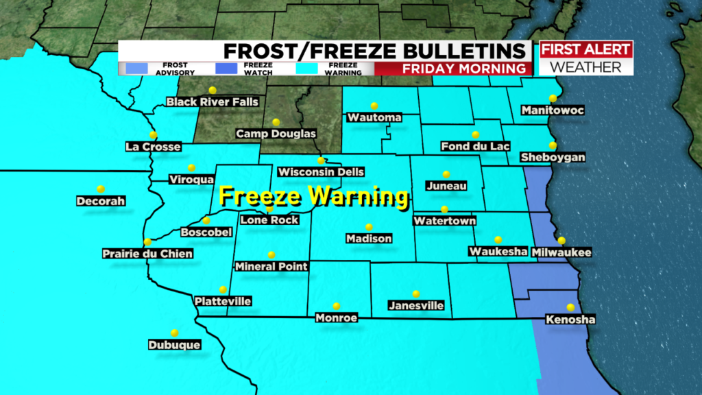 Seasons first hard freeze possible Thursday night