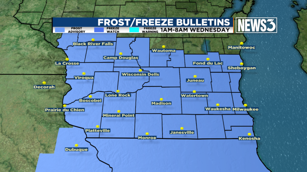 Unusually cold night could bring frost