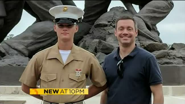 Flags at half-staff for fallen Marine