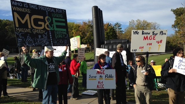 Dozens protest MG&E proposed rate hike