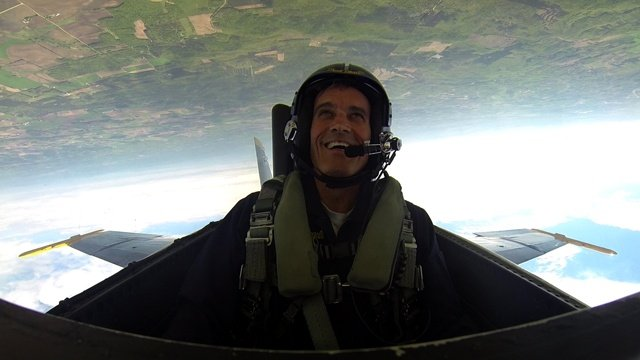 UW-La Crosse Chancellor Gow flies with the Blue Angels