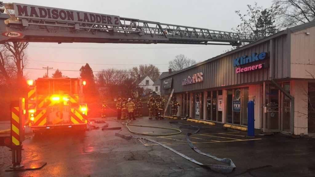 Firefighters battle blaze at west side cleaners