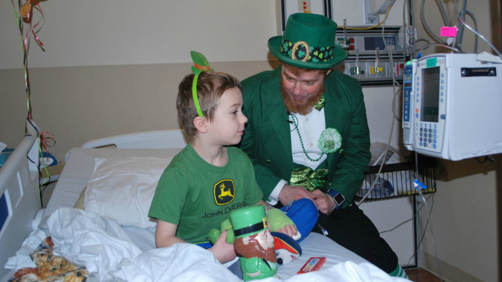 Leprechaun visits St. Mary's Hospital on St. Patrick's Day