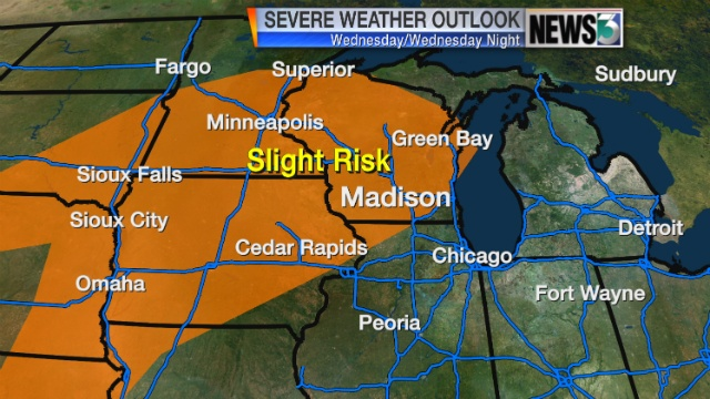 Storms, large hail possible late Tuesday night