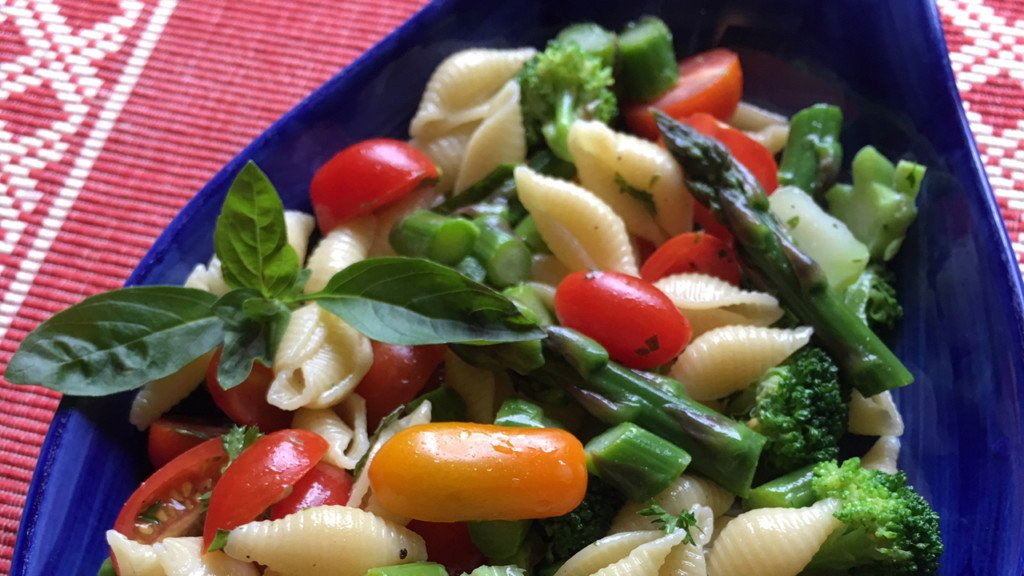 Donna's Mediterranean pasta, tomato, asparagus, broccoli salad with basil dressing