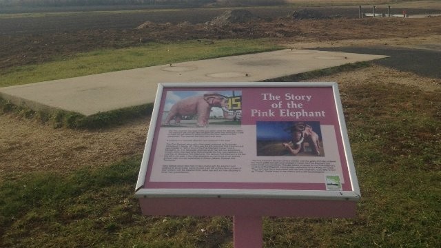 Pink elephant missing from interstate exit will be back, owner says