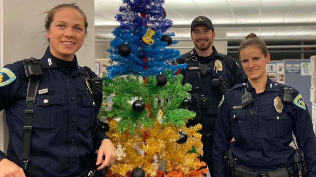 Madison police show off pride-themed Christmas tree