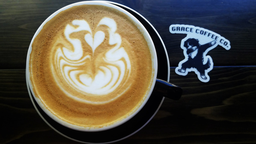 latte with a themed sticker