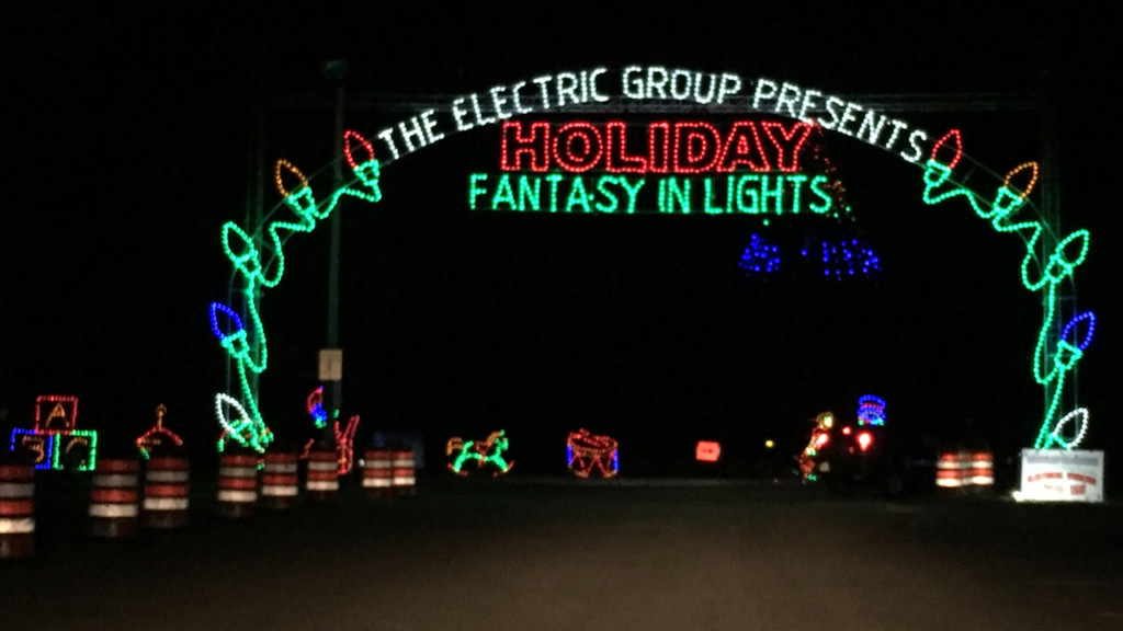 lighted up entrance to Holiday Fantasy in Lights