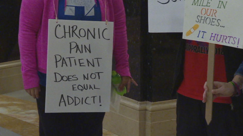 Local chronic pain sufferers protest opioid restrictions at the capitol