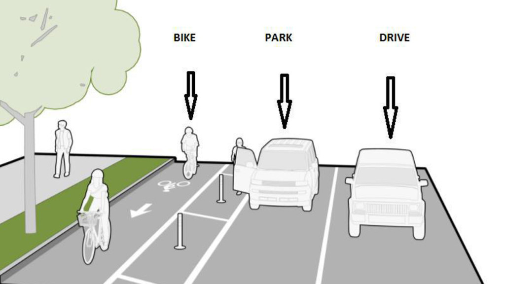 City of Madison tests parking-protected bike lane, asks for public input