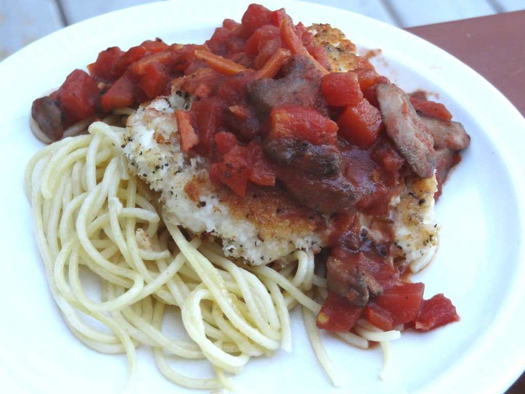 Donna's parmesan chicken with tomato mushroom sauce
