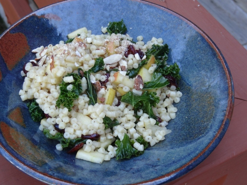 Donna's pasta with apples, cranberries and kale