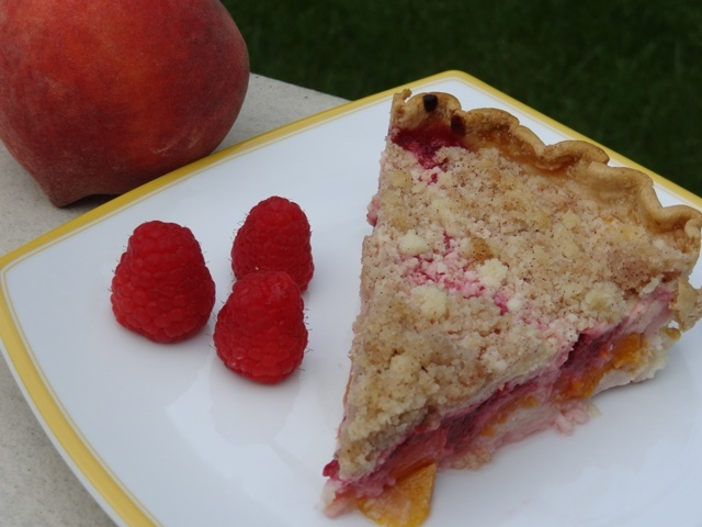Donna's Peach Raspberry Custard Pie