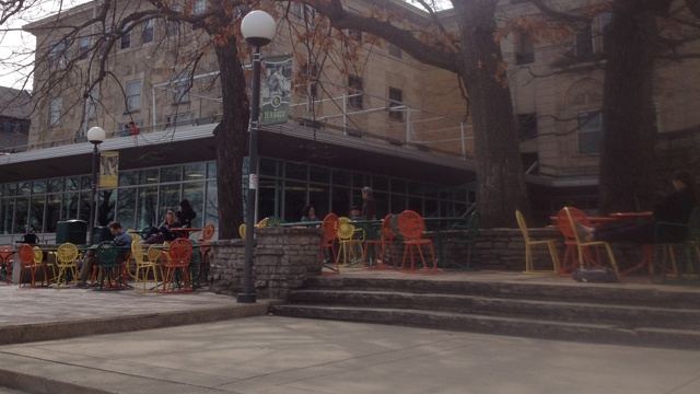 Terrace chairs mark spring's arrival at Memorial Union