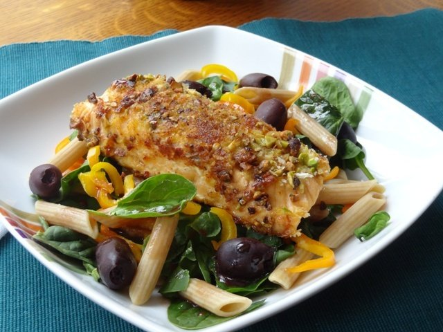 Donna's Pistachio Breaded Salmon on a Bed of Spinach & Pasta with Pomegranate Honey Dressing