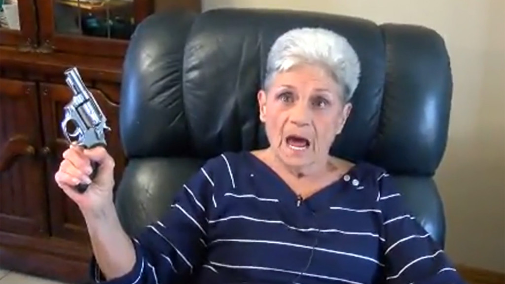 Pistol-packing granny faces down armed intruder