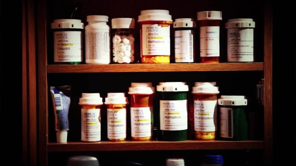 A cabinet filled with prescription drugs