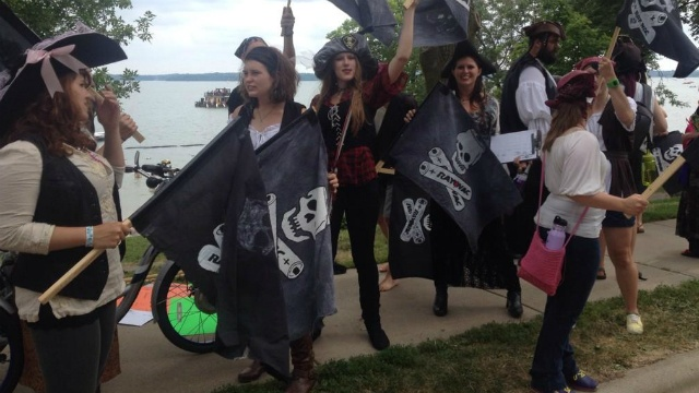 Protesting pirates demand change from local company