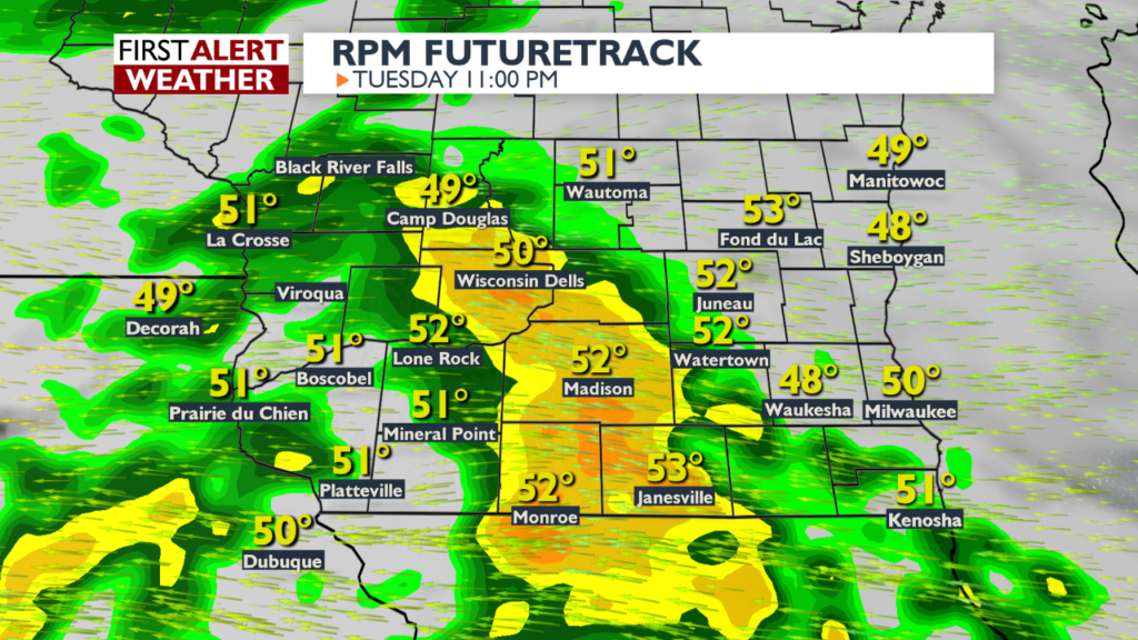 Rain chances increase Tuesday afternoon