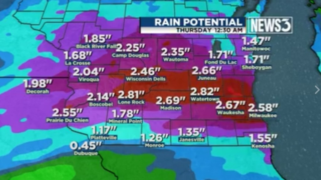 Heavy rain to continue falling on Madison Wednesday