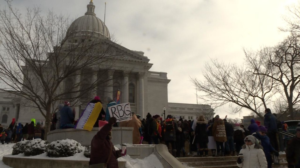 'Women are tough': Hundreds brave cold at Madison's Women's Wave rally