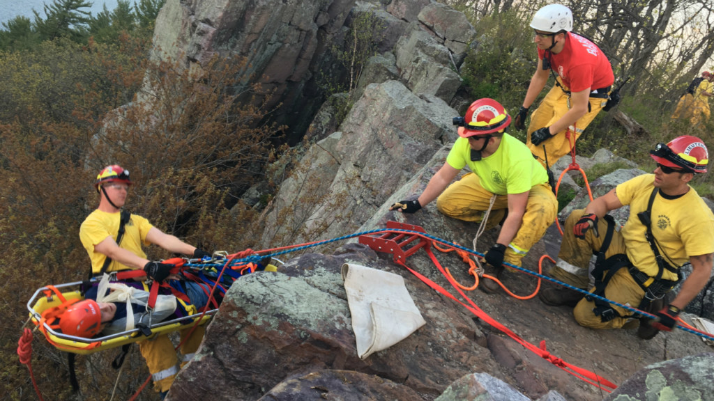 Baraboo Rope Rescue Team practices bluff rescue at Devil's Lake