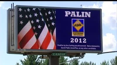 Group's billboards pushing Palin for president